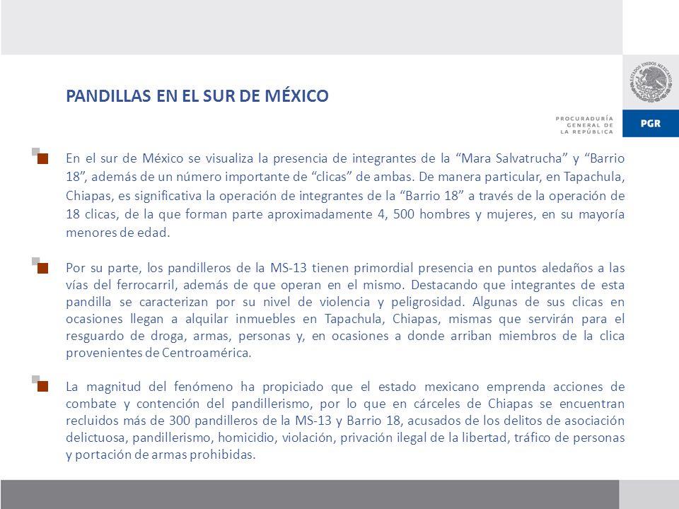 En el sur de México se visualiza la presencia de integrantes de la Mara Salvatrucha y Barrio 18, además de un número importante de clicas de ambas. De