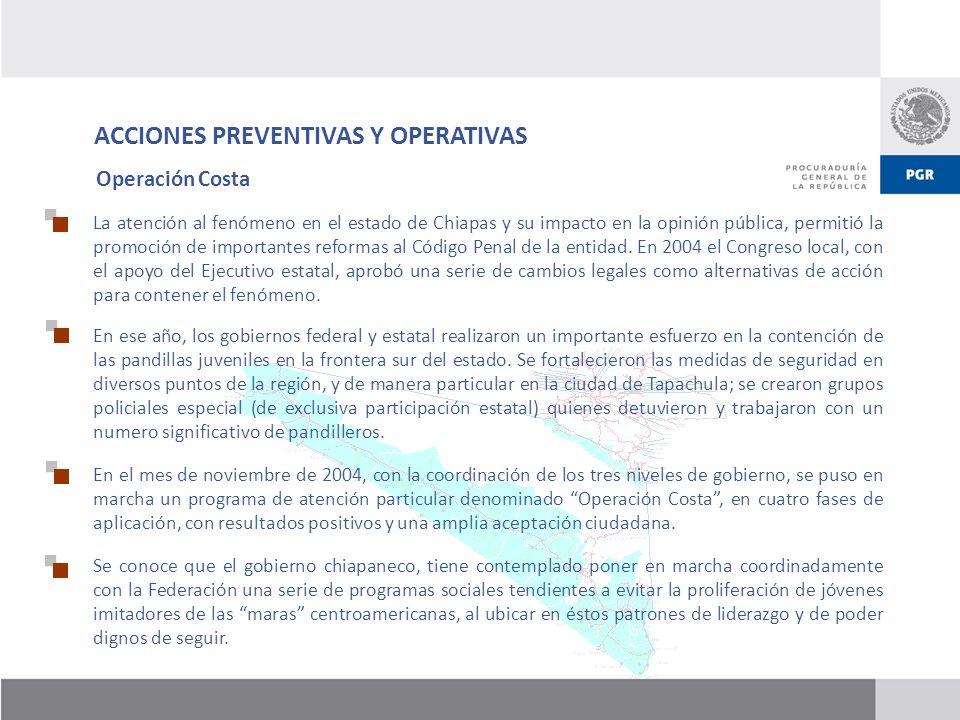 ACCIONES PREVENTIVAS Y OPERATIVAS La atención al fenómeno en el estado de Chiapas y su impacto en la opinión pública, permitió la promoción de importa