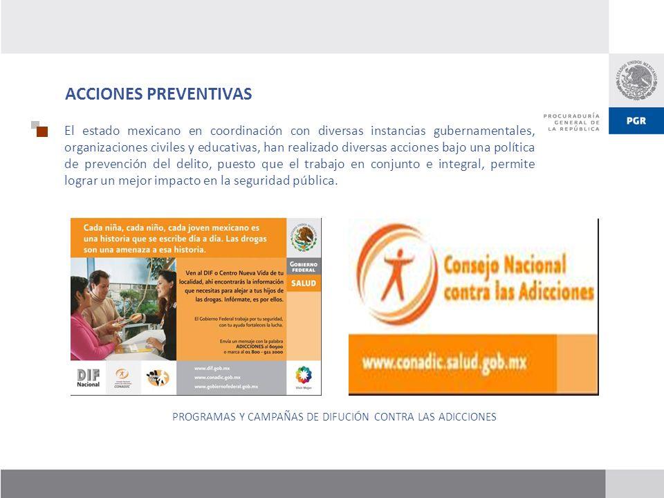 ACCIONES PREVENTIVAS El estado mexicano en coordinación con diversas instancias gubernamentales, organizaciones civiles y educativas, han realizado di