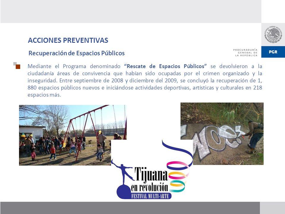 ACCIONES PREVENTIVAS Recuperación de Espacios Públicos Mediante el Programa denominado Rescate de Espacios Públicos se devolvieron a la ciudadanía áre