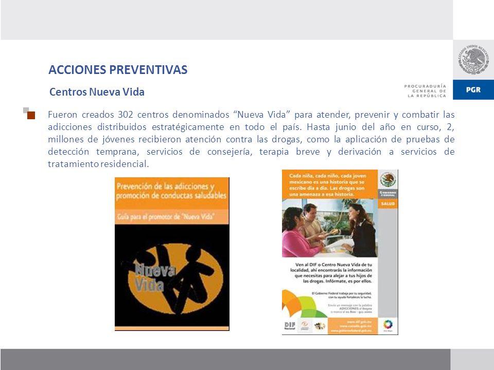 ACCIONES PREVENTIVAS Fueron creados 302 centros denominados Nueva Vida para atender, prevenir y combatir las adicciones distribuidos estratégicamente
