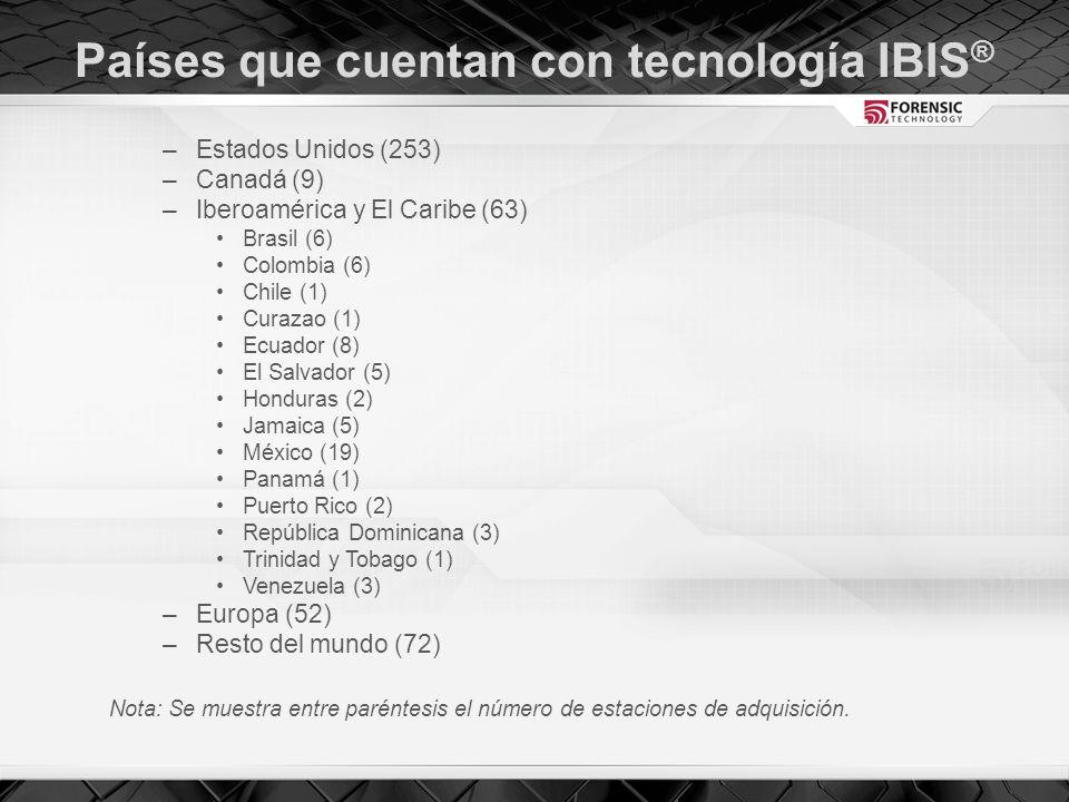 Países que cuentan con tecnología IBIS ® –Estados Unidos (253) –Canadá (9) –Iberoamérica y El Caribe (63) Brasil (6) Colombia (6) Chile (1) Curazao (1) Ecuador (8) El Salvador (5) Honduras (2) Jamaica (5) México (19) Panamá (1) Puerto Rico (2) República Dominicana (3) Trinidad y Tobago (1) Venezuela (3) –Europa (52) –Resto del mundo (72) Nota: Se muestra entre paréntesis el número de estaciones de adquisición.