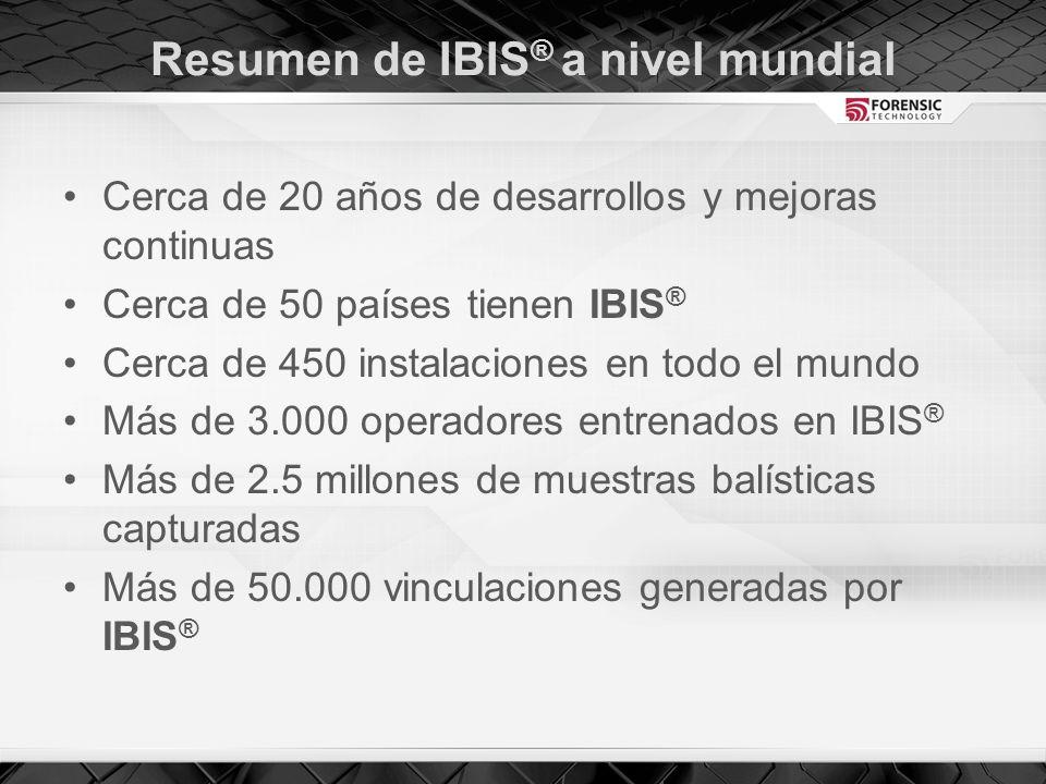 Resumen de IBIS ® a nivel mundial Cerca de 20 años de desarrollos y mejoras continuas Cerca de 50 países tienen IBIS ® Cerca de 450 instalaciones en todo el mundo Más de 3.000 operadores entrenados en IBIS ® Más de 2.5 millones de muestras balísticas capturadas Más de 50.000 vinculaciones generadas por IBIS ®