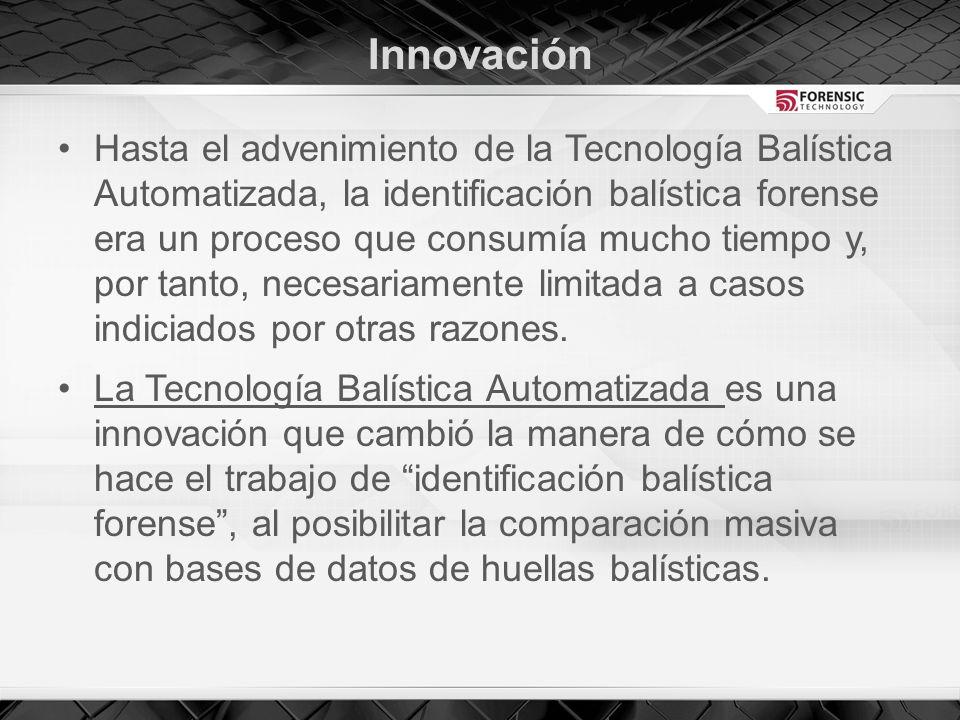 Innovación Hasta el advenimiento de la Tecnología Balística Automatizada, la identificación balística forense era un proceso que consumía mucho tiempo y, por tanto, necesariamente limitada a casos indiciados por otras razones.