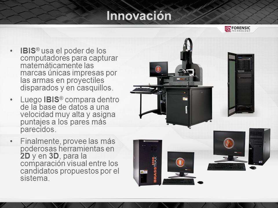 Innovación IBIS ® usa el poder de los computadores para capturar matemáticamente las marcas únicas impresas por las armas en proyectiles disparados y en casquillos.