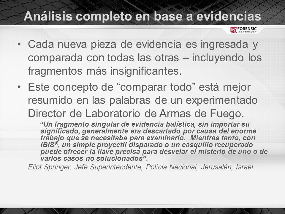 Análisis completo en base a evidencias Cada nueva pieza de evidencia es ingresada y comparada con todas las otras – incluyendo los fragmentos más insignificantes.