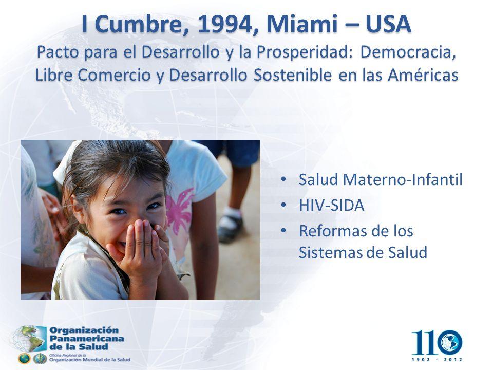 I Cumbre, 1994, Miami – USA Pacto para el Desarrollo y la Prosperidad: Democracia, Libre Comercio y Desarrollo Sostenible en las Américas Salud Materno-Infantil HIV-SIDA Reformas de los Sistemas de Salud