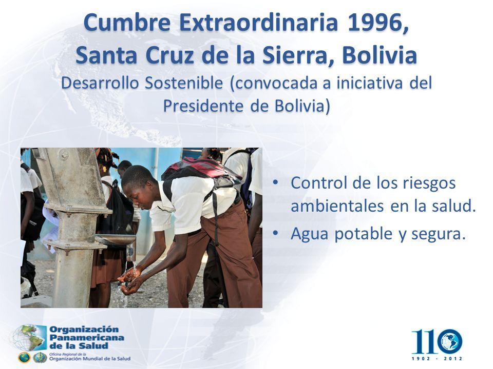 Cumbre Extraordinaria 1996, Santa Cruz de la Sierra, Bolivia Desarrollo Sostenible (convocada a iniciativa del Presidente de Bolivia) Control de los riesgos ambientales en la salud.