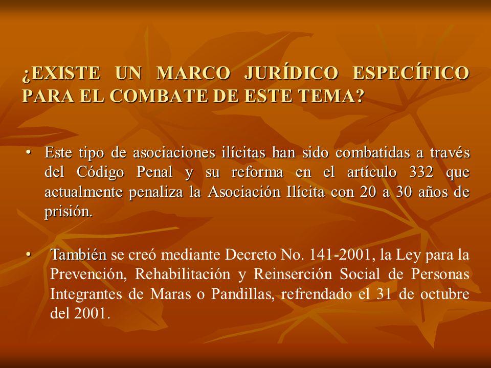 ¿EXISTE UN PLAN NACIONAL O POLÍTICA PÚBLICA RELACIONADA DIRECTAMENTE CON EL TEMA DE MARAS Y PANDILLAS? A partir de el año 2004 fue creada una oficina