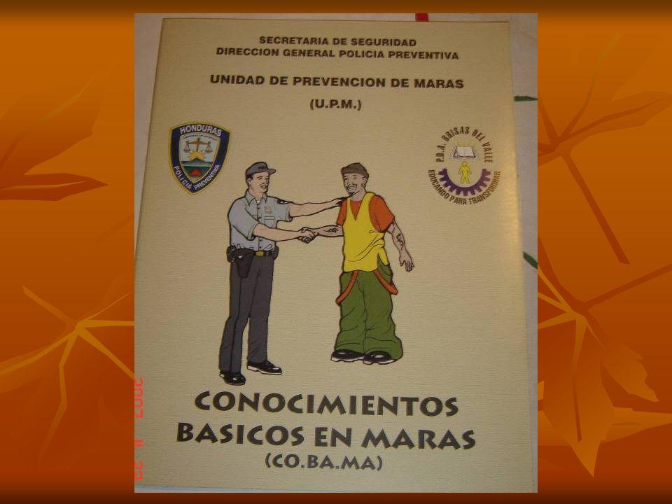 Conocimientos Básicos en Maras; Es un curso diseñado para operadores de justicia (jueces y fiscales) maestros y policías. Duración 16 horas. CO. BA. M