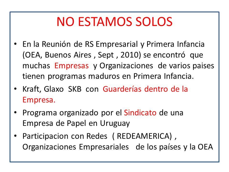 NO ESTAMOS SOLOS En la Reunión de RS Empresarial y Primera Infancia (OEA, Buenos Aires, Sept, 2010) se encontró que muchas Empresas y Organizaciones d