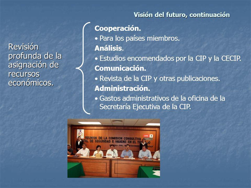 Visión del futuro, continuación Revisión profunda de la asignación de recursos económicos.