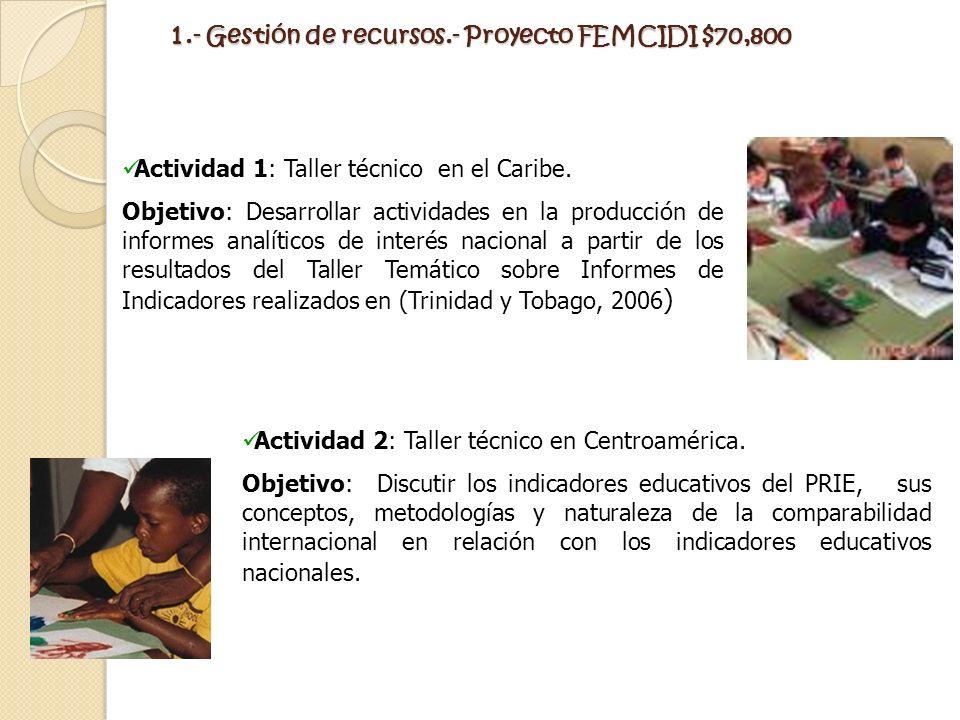 1.- Gestión de recursos.- Proyecto FEMCIDI $70,800 Actividad 1: Taller técnico en el Caribe. Objetivo: Desarrollar actividades en la producción de inf