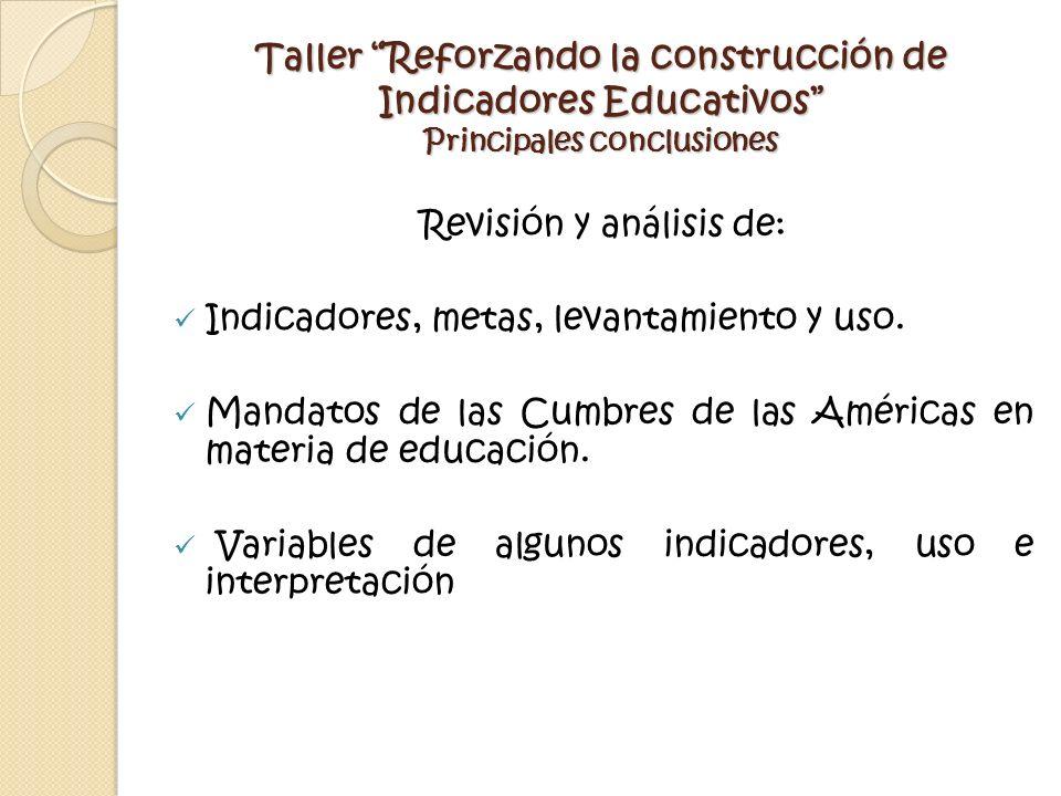 Taller Reforzando la construcción de Indicadores Educativos Principales conclusiones Revisión y análisis de: Indicadores, metas, levantamiento y uso.
