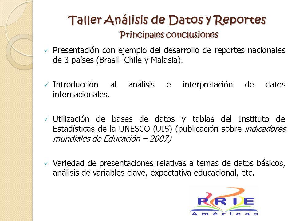 Taller Análisis de Datos y Reportes Principales conclusiones Presentación con ejemplo del desarrollo de reportes nacionales de 3 países (Brasil- Chile