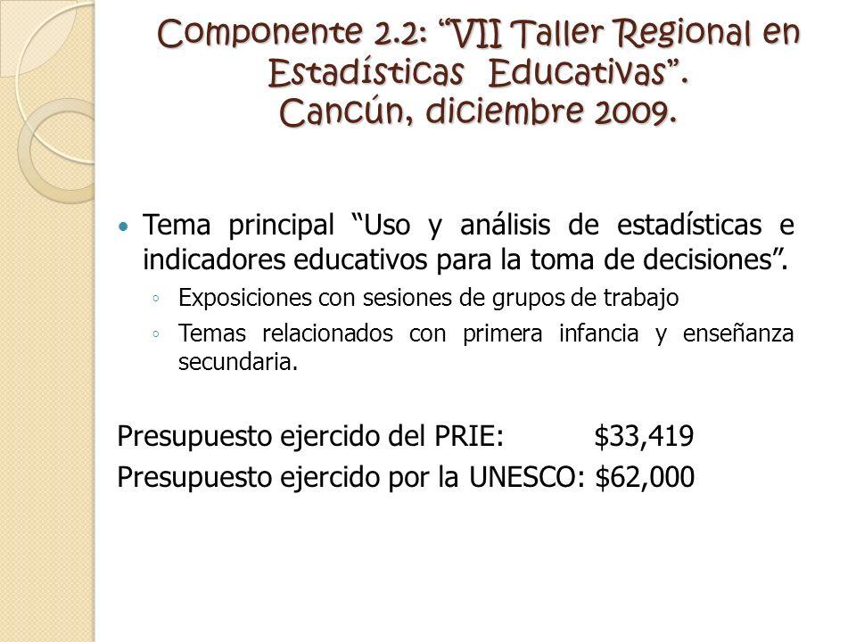 Componente 2.2: VII Taller Regional en Estadísticas Educativas. Cancún, diciembre 2009. Tema principal Uso y análisis de estadísticas e indicadores ed