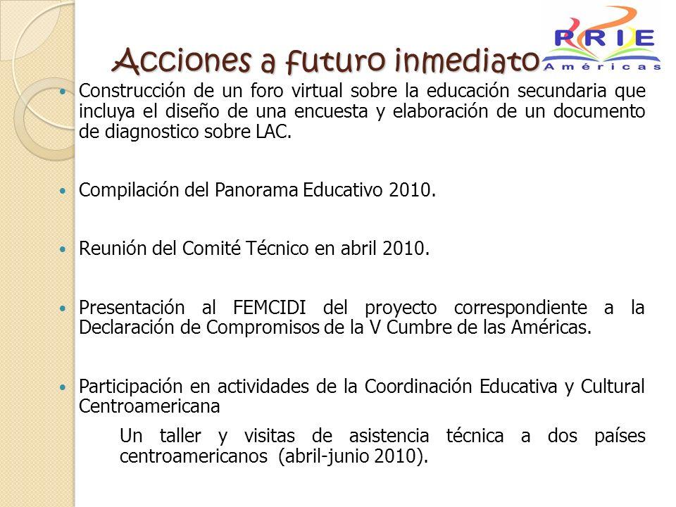 Acciones a futuro inmediato: Construcción de un foro virtual sobre la educación secundaria que incluya el diseño de una encuesta y elaboración de un d