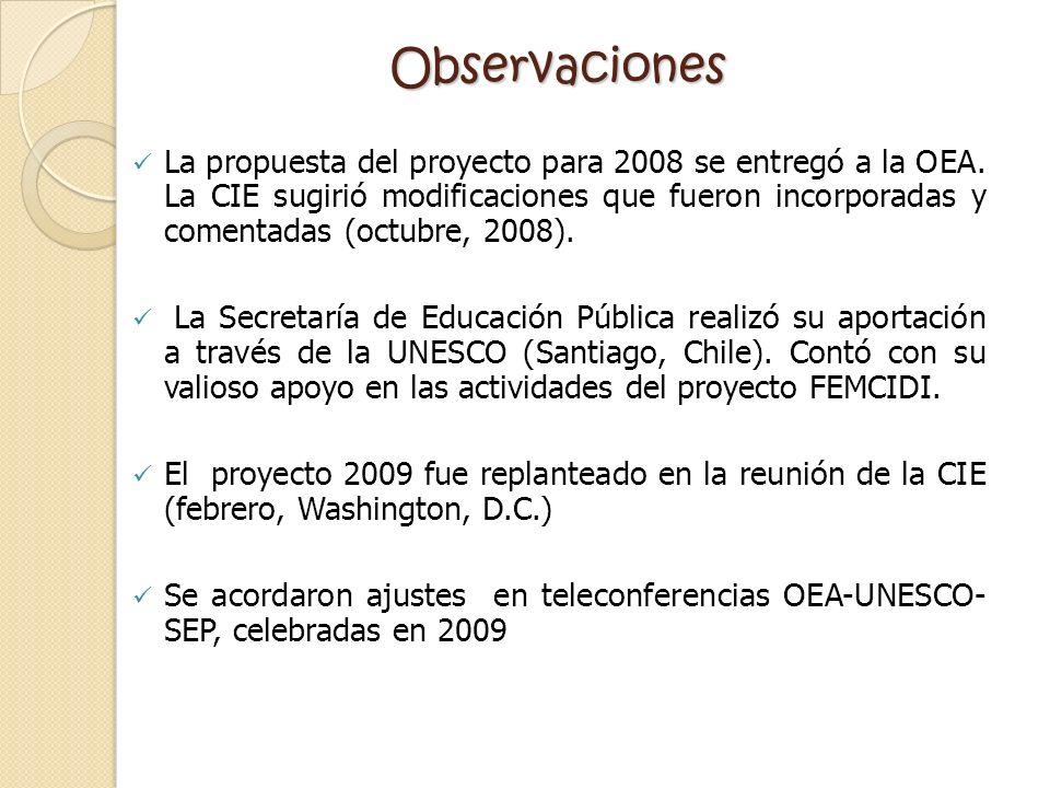Observaciones La propuesta del proyecto para 2008 se entregó a la OEA. La CIE sugirió modificaciones que fueron incorporadas y comentadas (octubre, 20