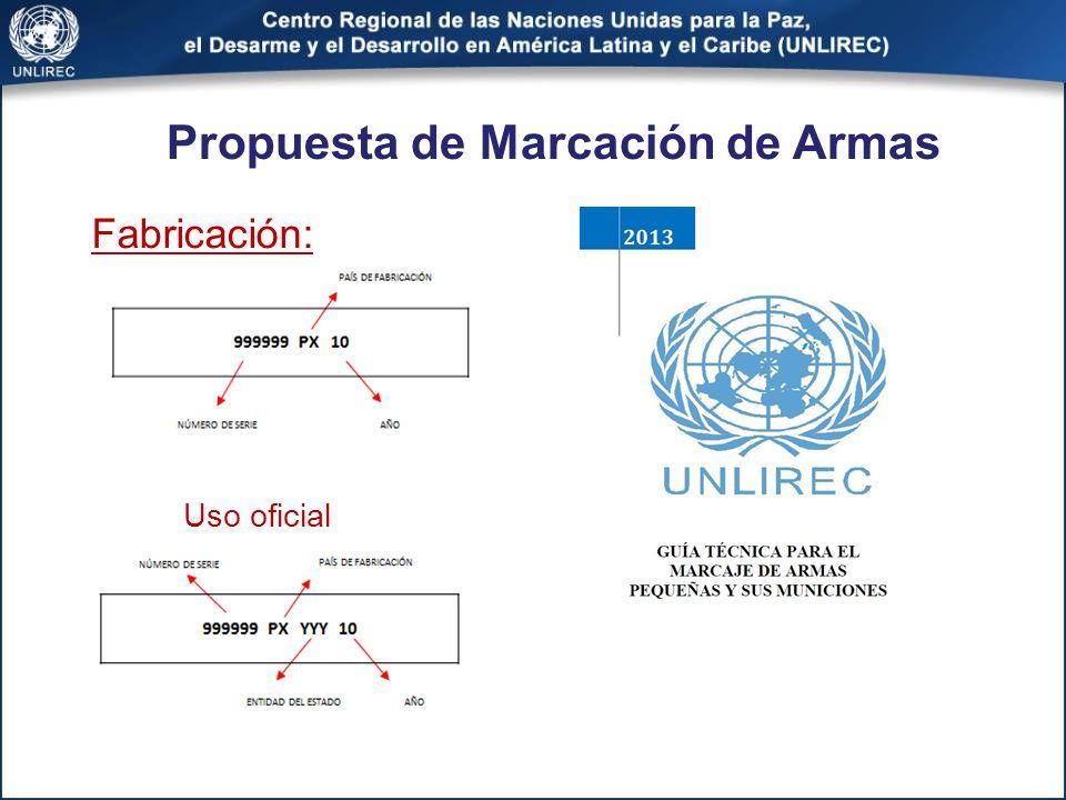Propuesta de Marcación de Armas Fabricación: Uso oficial
