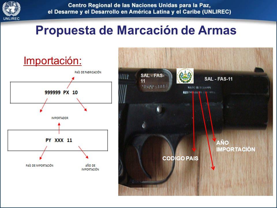 Propuesta de Marcación de Armas Importación: CODIGO ORGANISMO IMPORTADOR: FUERZA AEREA SALVADOREÑA SAL - FAS- 11 CODIGO PAIS AÑO IMPORTACIÓN SAL - FAS