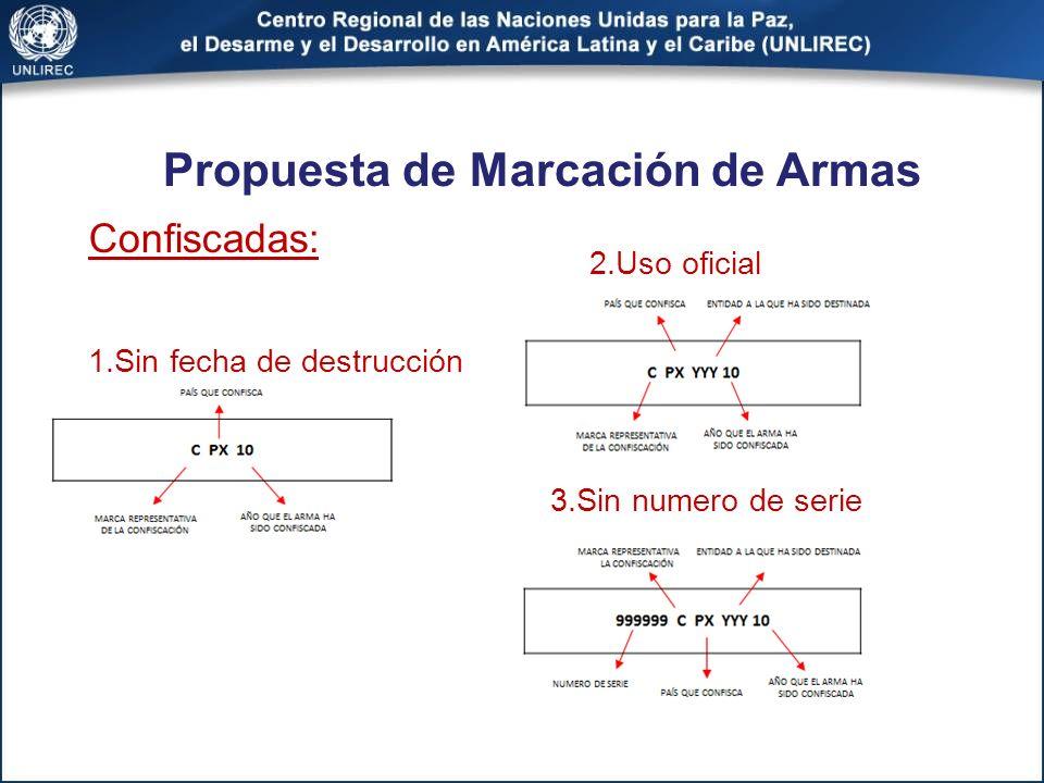 Propuesta de Marcación de Armas Confiscadas: 1.Sin fecha de destrucción 2.Uso oficial 3.Sin numero de serie