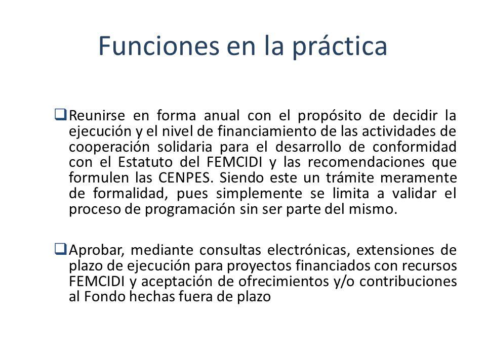 Funciones en la práctica Reunirse en forma anual con el propósito de decidir la ejecución y el nivel de financiamiento de las actividades de cooperaci