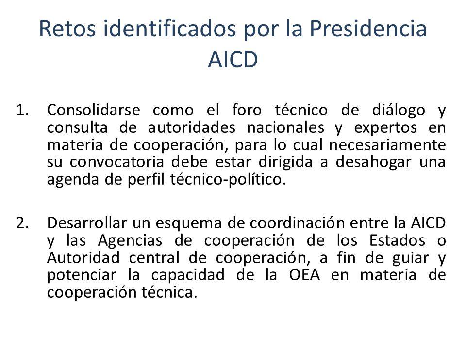 Retos identificados por la Presidencia AICD (cont.) 3.Contribuir al fortalecimiento de los esquemas de cooperación técnica, mediante la movilización de recursos para el financiamiento, preparación, seguimiento y evaluación de proyectos.