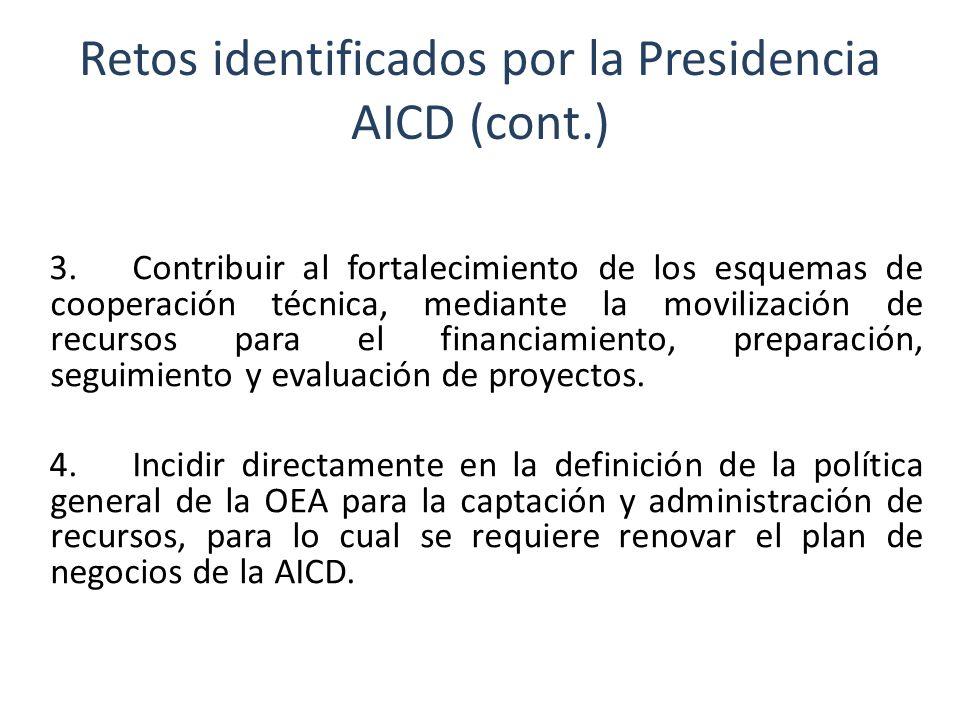 Retos identificados por la Presidencia AICD (cont.) 5.Retomar el esfuerzo para realizar un registro actualizado de los proyectos de desarrollo integral presentados, financiados y evaluados por FEMCIDI y otras fuentes, a fin de sistematizar la información y mejorar la gestión.