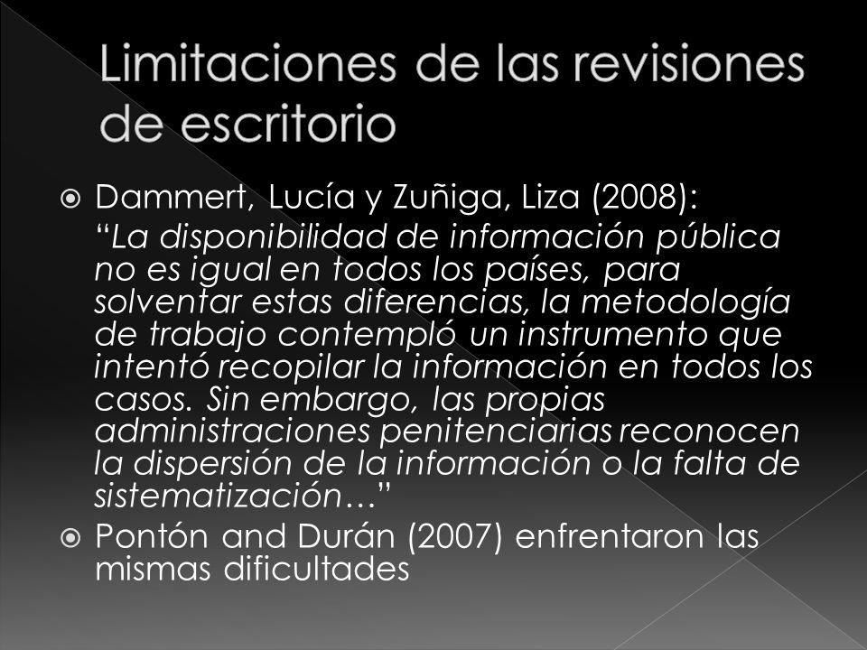 Dammert, Lucía y Zuñiga, Liza (2008): La disponibilidad de información pública no es igual en todos los países, para solventar estas diferencias, la metodología de trabajo contempló un instrumento que intentó recopilar la información en todos los casos.