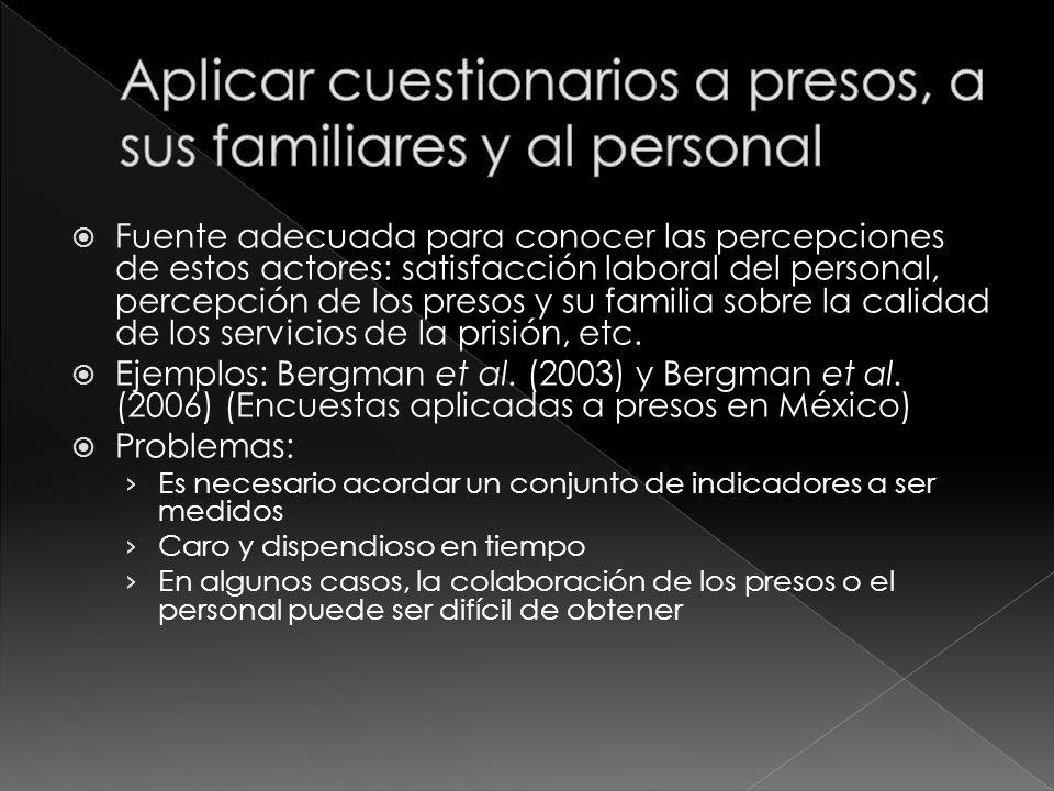 Fuente adecuada para conocer las percepciones de estos actores: satisfacción laboral del personal, percepción de los presos y su familia sobre la calidad de los servicios de la prisión, etc.