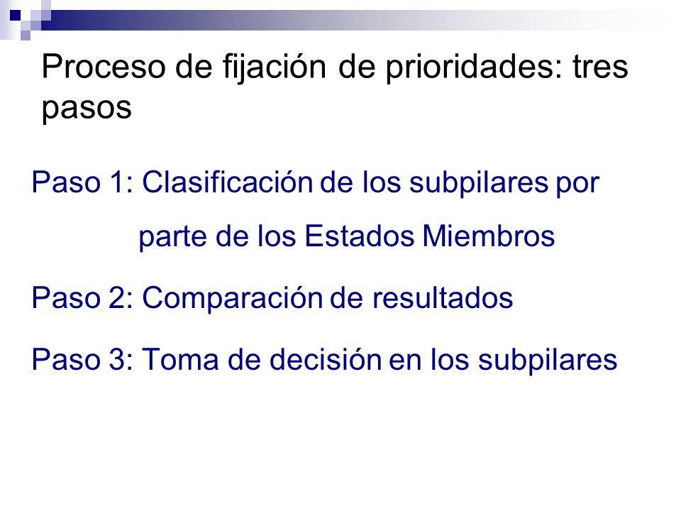 Proceso de fijación de prioridades: tres pasos Paso 1: Clasificación de los subpilares por parte de los Estados Miembros Paso 2: Comparación de resultados Paso 3: Toma de decisión en los subpilares