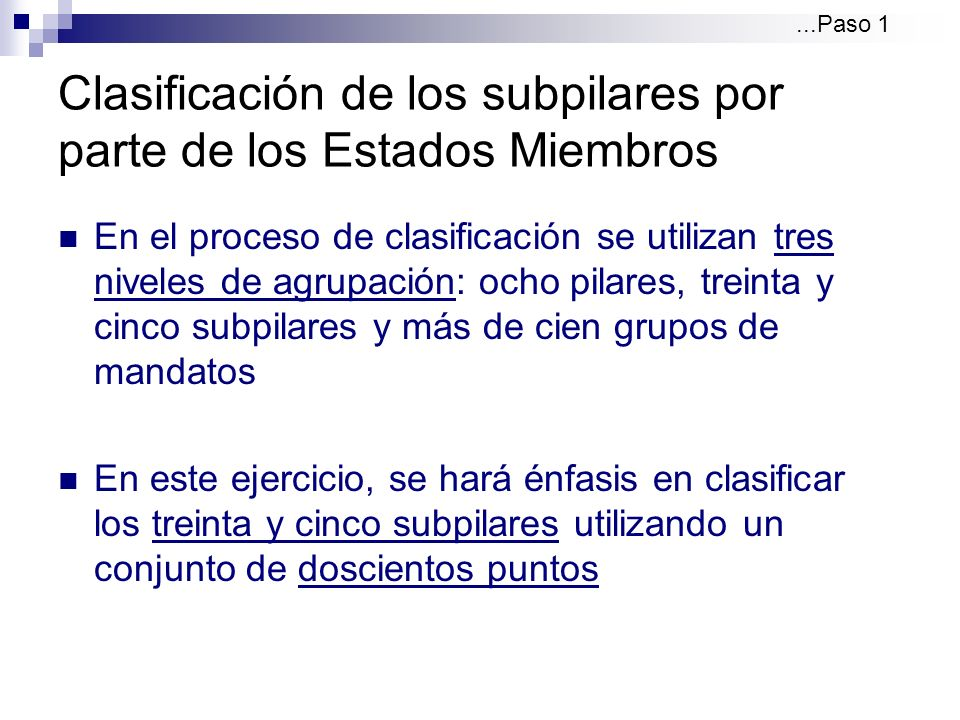 Clasificación de los subpilares por parte de los Estados Miembros Cada Estado Miembro determinaría sus prioridades nacionales conforme al valor que ellos mismos atribuyan a las actividades de la OEA El proceso de fijación de prioridades es una metodología híbrida de clasificación: existe puntuación de carácter técnico y político...Paso 1