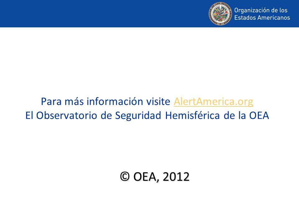 Para más información visite AlertAmerica.org El Observatorio de Seguridad Hemisférica de la OEAAlertAmerica.org © OEA, 2012