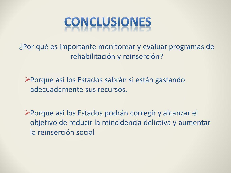 ¿Por qué es importante monitorear y evaluar programas de rehabilitación y reinserción? Porque así los Estados sabrán si están gastando adecuadamente s