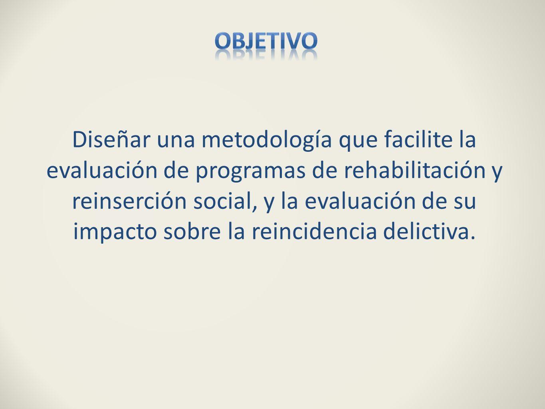 Diseñar una metodología que facilite la evaluación de programas de rehabilitación y reinserción social, y la evaluación de su impacto sobre la reincid