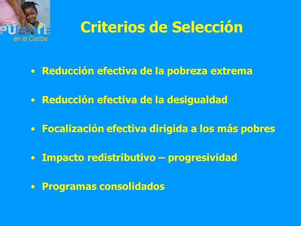 Criterios de Selección Reducción efectiva de la pobreza extrema Reducción efectiva de la desigualdad Focalización efectiva dirigida a los más pobres I