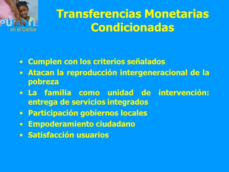 Transferencias Monetarias Condicionadas Cumplen con los criterios señalados Atacan la reproducción intergeneracional de la pobreza La familia como uni