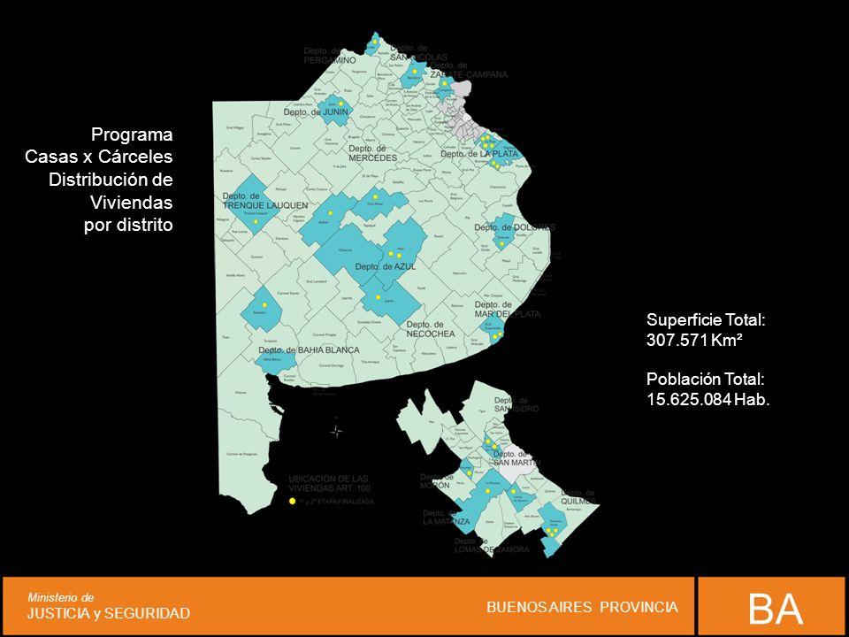 Programa Casas x Cárceles Distribución de Viviendas por distrito Superficie Total: 307.571 Km² Población Total: 15.625.084 Hab. BA Ministerio de JUSTI
