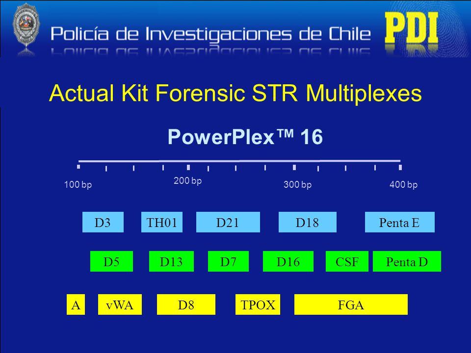100 bp400 bp300 bp 200 bp D13 D3D21TH01 D5D7 PowerPlex 16 D16 D18Penta E AvWAD8TPOX CSFPenta D FGA Actual Kit Forensic STR Multiplexes
