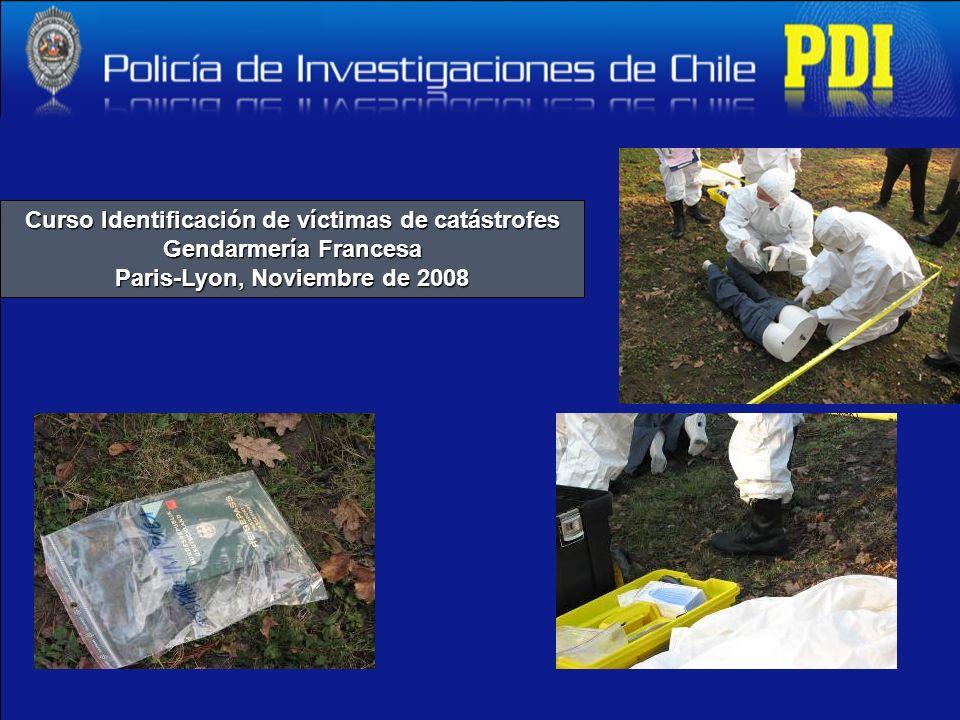 Curso Identificación de víctimas de catástrofes Gendarmería Francesa Paris-Lyon, Noviembre de 2008