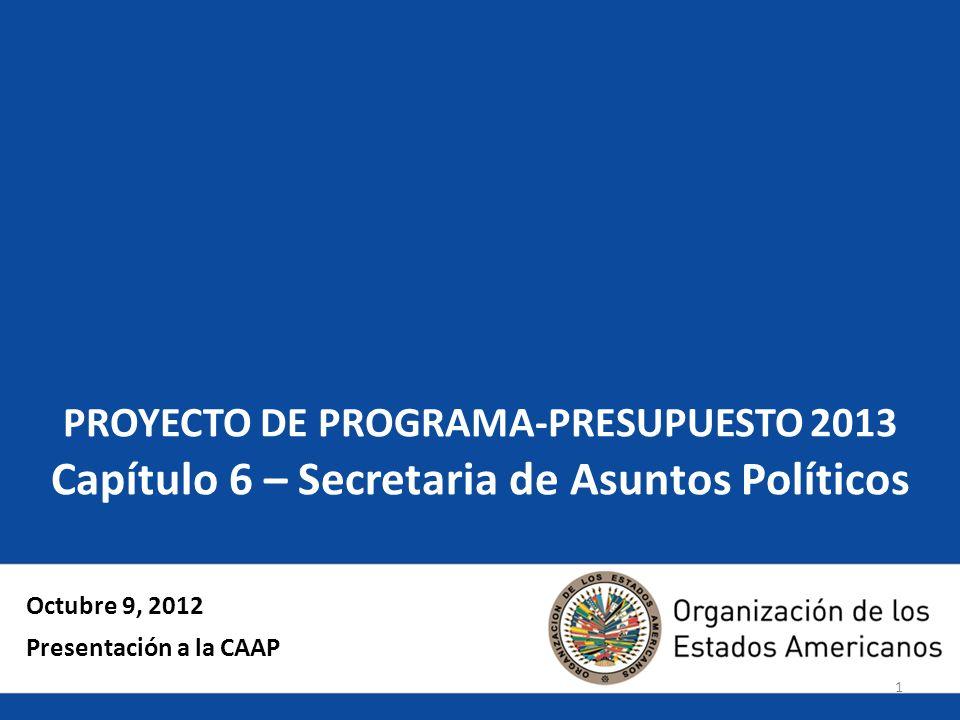 1 PROYECTO DE PROGRAMA-PRESUPUESTO 2013 Capítulo 6 – Secretaria de Asuntos Políticos Octubre 9, 2012 Presentación a la CAAP
