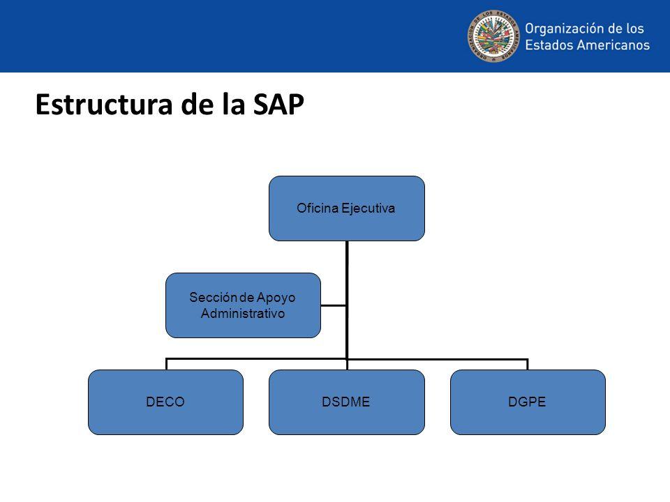 Oficina Ejecutiva DECODSDMEDGPE Sección de Apoyo Administrativo Estructura de la SAP