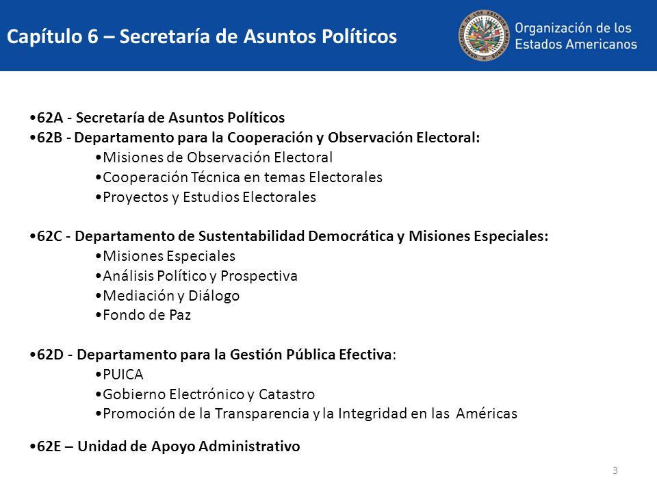 3 62A - Secretaría de Asuntos Políticos 62B - Departamento para la Cooperación y Observación Electoral: Misiones de Observación Electoral Cooperación
