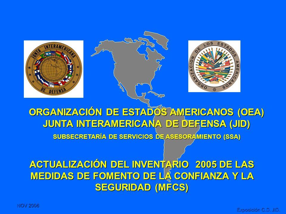 NOV 2006 Exposición C.D. JID. ACTUALIZACIÓN DEL INVENTARIO 2005 DE LAS MEDIDAS DE FOMENTO DE LA CONFIANZA Y LA SEGURIDAD (MFCS) ORGANIZACIÓN DE ESTADO