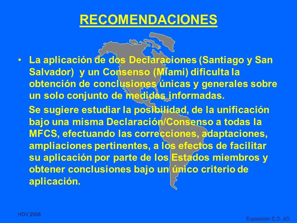 NOV 2006 Exposición C.D. JID. RECOMENDACIONES La aplicación de dos Declaraciones (Santiago y San Salvador) y un Consenso (Miami) dificulta la obtenció
