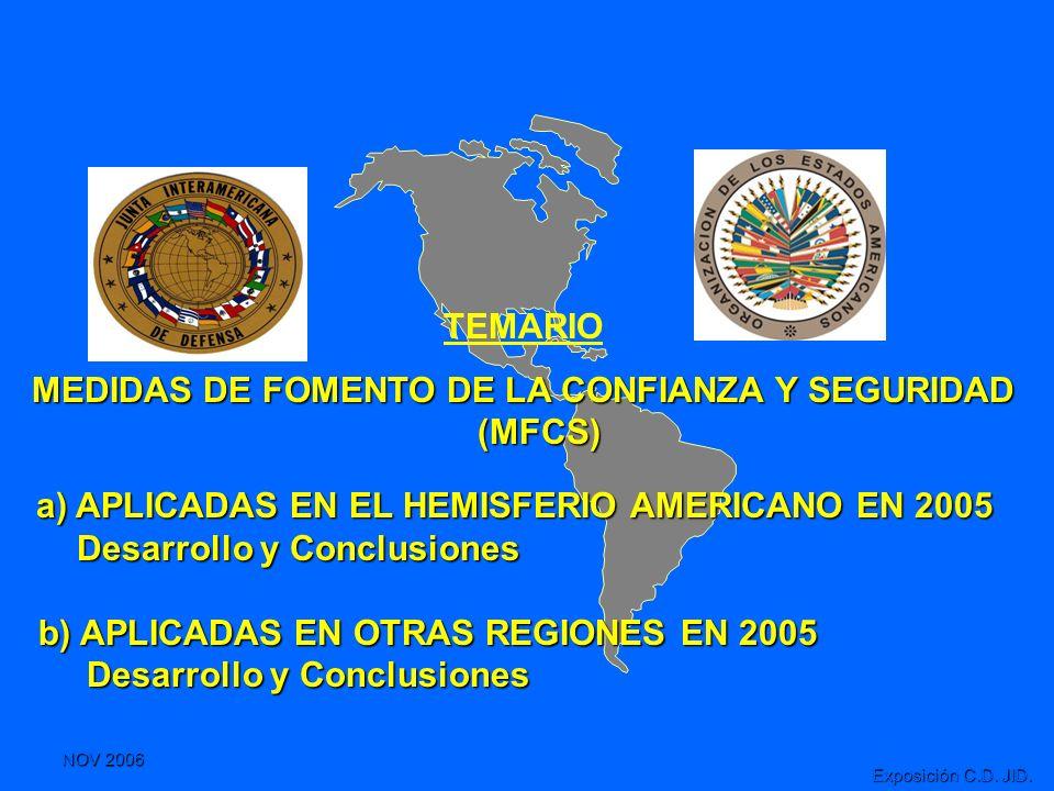 NOV 2006 Exposición C.D. JID. TEMARIO MEDIDAS DE FOMENTO DE LA CONFIANZA Y SEGURIDAD (MFCS) a) APLICADAS EN EL HEMISFERIO AMERICANO EN 2005 a) APLICAD