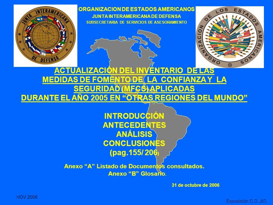 NOV 2006 Exposición C.D. JID. ORGANIZACION DE ESTADOS AMERICANOS JUNTA INTERAMERICANA DE DEFENSA SUBSECRETARIA DE SERVICIOS DE ASESORAMIENTO ACTUALIZA