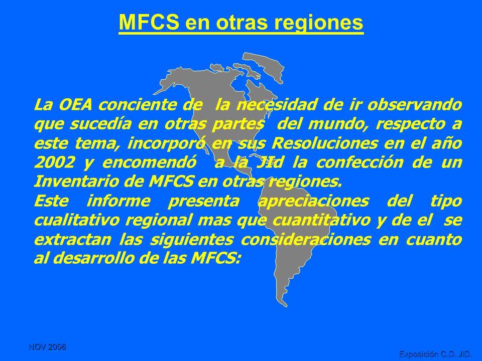 NOV 2006 Exposición C.D. JID. MFCS en otras regiones La OEA conciente de la necesidad de ir observando que sucedía en otras partes del mundo, respecto