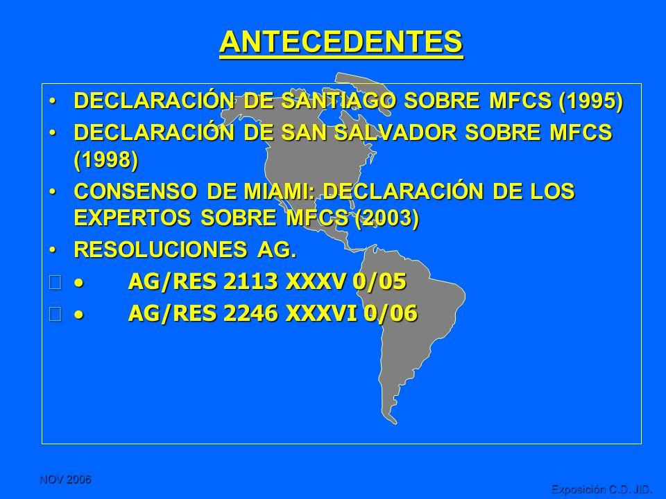 NOV 2006 Exposición C.D. JID. ANTECEDENTES DECLARACIÓN DE SANTIAGO SOBRE MFCS (1995)DECLARACIÓN DE SANTIAGO SOBRE MFCS (1995) DECLARACIÓN DE SAN SALVA