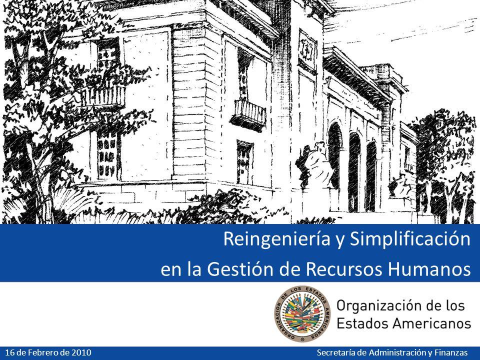 Reingeniería y Simplificación en la Gestión de Recursos Humanos 16 de Febrero de 2010Secretaría de Administración y Finanzas